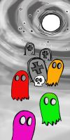 Pacman Ghosts by atramentous-rose