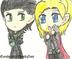 Loki and Thor chibis by ThePastelHobbit