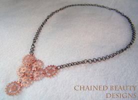 Copper Gears Necklace by ChainedBeauty