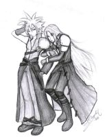 Cloud and Sephy. by Kellicros