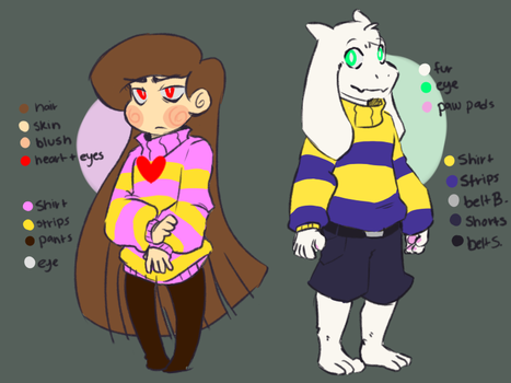 Chara And Asriel Ref Sheets by Bunnymuse