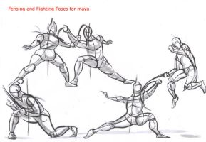 fencing poses for maya_03 by AlexBaxtheDarkSide