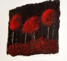 Textured Red Tree Abstract Painting by Toxic-Muffins-Studio