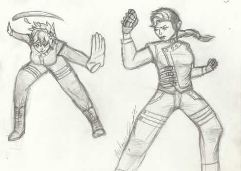 Victubia OC- The Fighting Couple (Sketch) by 2PunkGuRlNuMbA12