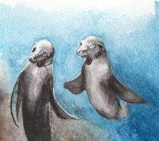 Pair of Sealions by Djelibey