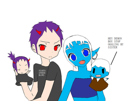 Icey Damion and two puppet siblings by bonnybanshey