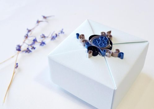 Ice Blue Jewelry Gift Box with Quilling Ornament by ReverseCascade