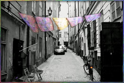 Silk scarfs in the street in Stockholm by fudins