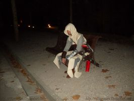 tired Altair on bench XD by RerinKin