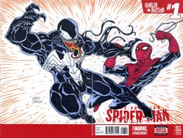 Venom vs Spiderman sketch cover by mdavidct