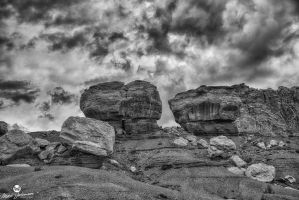 Scattered Red Rocks BW by mjohanson