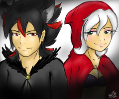 Grey Wolf and Little Red Riding Hood by kitana911