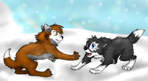 Art Trade: Blue and Rhydian by Firewolf-Anime