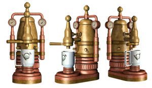 Steampunk Coffee Pot PNG Stock by Roy3D