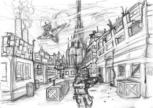 city scene drawing by DennisH2010