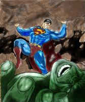 Superman vs Hulk colored by CHADBOVEY