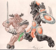 Minotaur Gladiators by Frodnew-Erodoeht