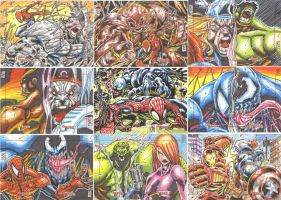 MARVEL GREATEST BATTLES sketch cards by warpath28
