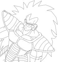 Raditz will kill you-Lineart- by Paradise-of-Darkness