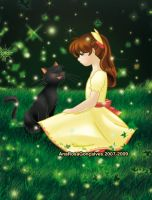 Little Girl and the black cat by Annrose001