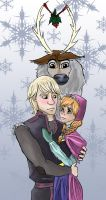 Mistletoe - Kristoff and Anna by northernwatertribe