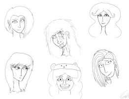 My OC human faces by Black-Raven19