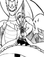 Dragon Rider Victor Persona BW by victortky