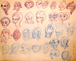 cartoony alien head sketches by phiro3