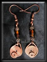 copper wire earrings by Fawkesgirl