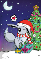 Eevee christmas - shiny version ^^ by LittleMissAntiSocial
