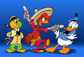 Inking practise - 3 Caballeros by Henrieke