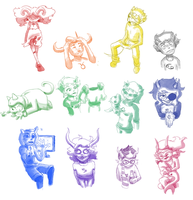 Homestuck Troll Sketches by incongruousinquiry