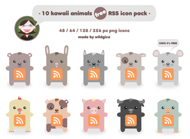 Kawaii animals RSS icon pack by wildgica