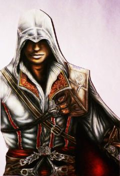 Ezio Auditore Assassins Creed 2 color drawing by Polaara