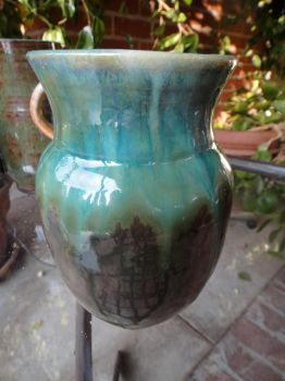 brown and blue vase by janinelevin
