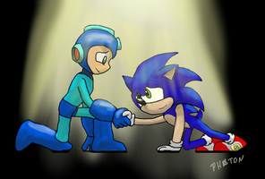 Blue Robot Battling Bros by AtomicPhoton