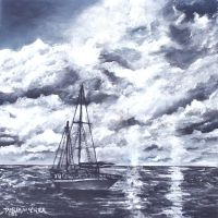 sailboat oil painting by derekmccrea