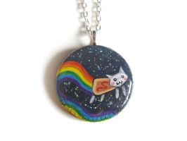 White Nyan Cat Pendant by sobeyondthis