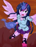 Equestria Girls: Twilight peleando by NekoJackun