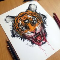 Tiger Marker Drawing by AtomiccircuS