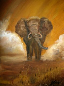 Elephant. Oil painting. by NicotineL
