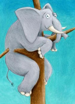 Hang in there!  Elephant Climbing a Tree ATC by tursiart