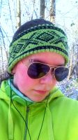 Marius green and black headband/earwarmer by KnitLizzy