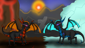 The Dragonesses of Fire and Ice by SpyraDragoness