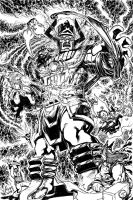 Everyone VS Galactus inked by wrathofkhan