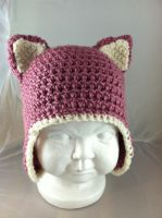 Crochet Baby Kitty Ears Hat - Berries and Cream by NerdStitch