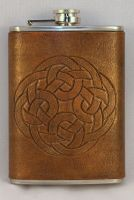 Round Celtic Knot Tooled Leather Flask by ArmouredWolf907