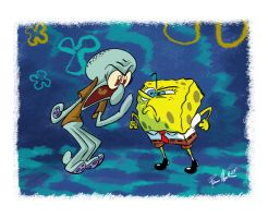 Spongebob Vs. Squidward by Raveneesimo