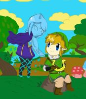 Chibi Link and Fi by acua-chan