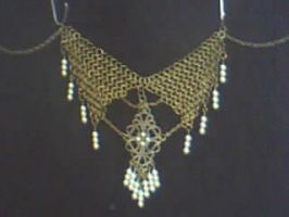 Antique bronze and pearls necklace by Nanahuatli